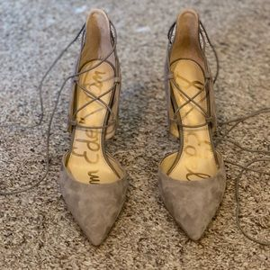 Taupe suede lace up heels